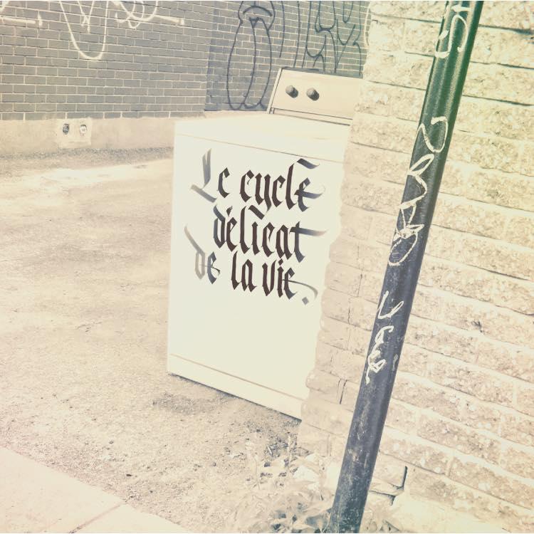 Une lessiveuse laissée en bordure de rue sur laquelle on peut lire en calligraphie travaillée «Le cycle délicat de la vie».